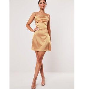 Satin Cowl Neck Dress